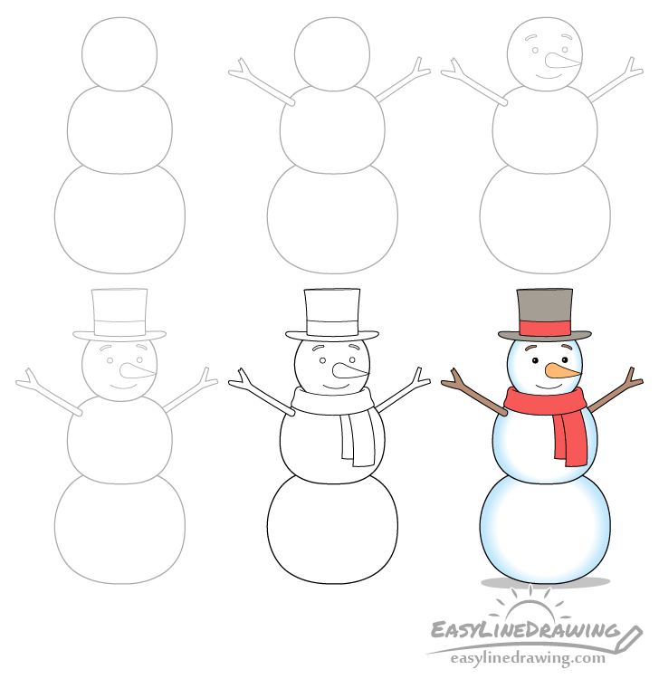Snowman drawing step by step