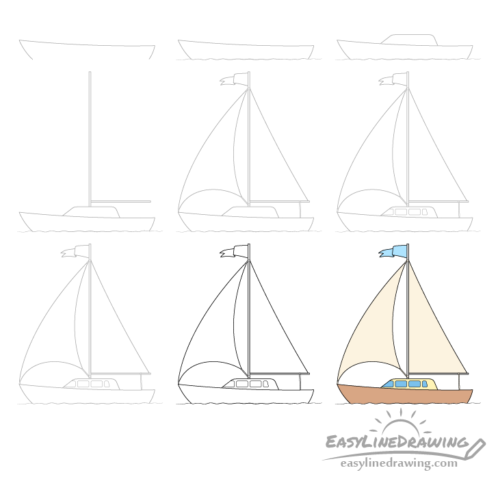 Boat drawing step by step