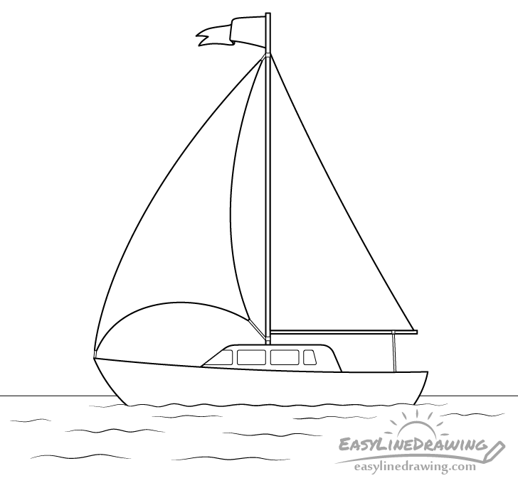 Boat line drawing