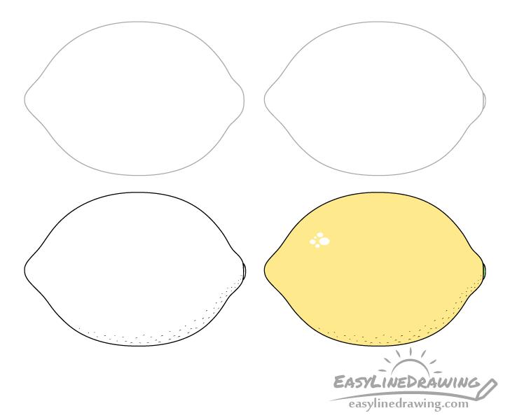 Lemon drawing step by step