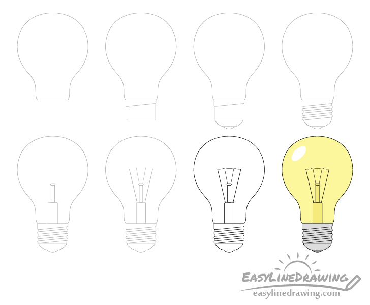 Light bulb drawing step by step