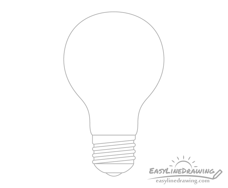 Light bulb screw threads drawing