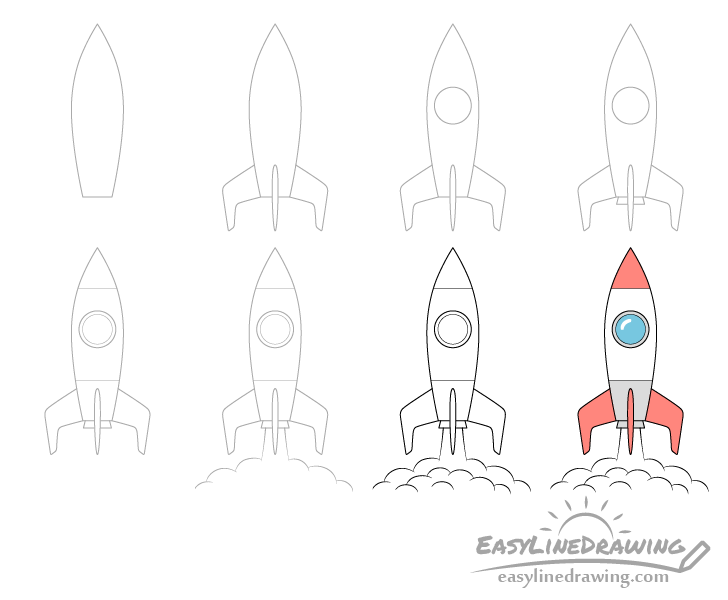 Rocket drawing step by step