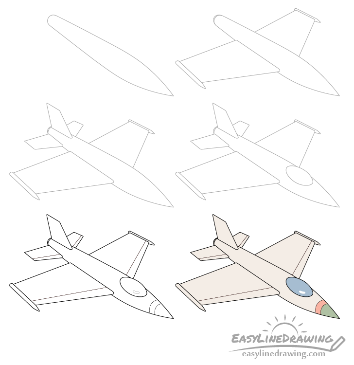 Fighter jet drawing step by step