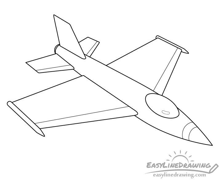 Fighter jet line drawing