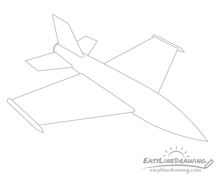 Fighter jet tail drawing
