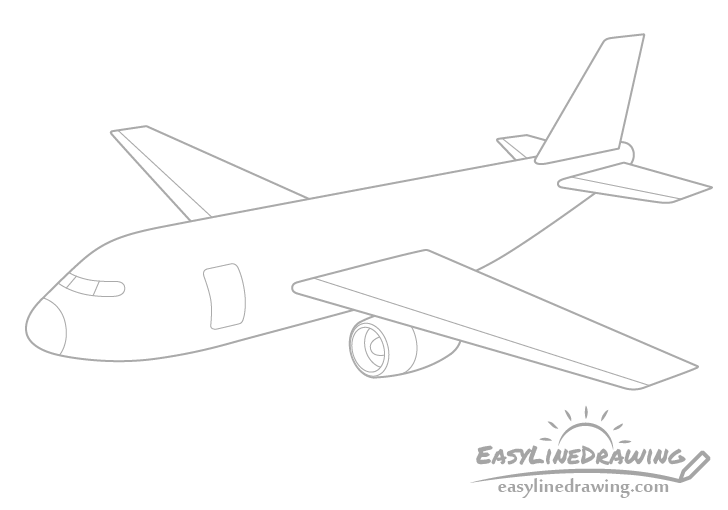 Airplane wing and engine drawing