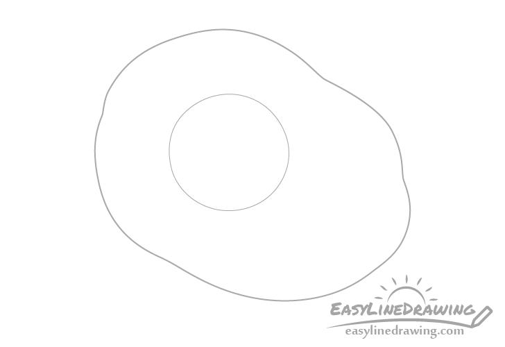 Fried egg yolk drawing