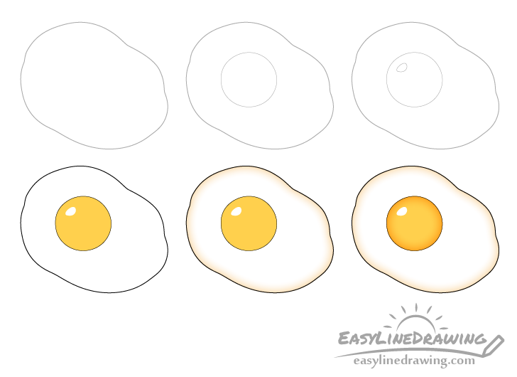Fried egg drawing step by step