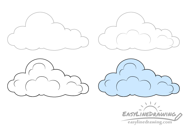Cloud drawing step by step