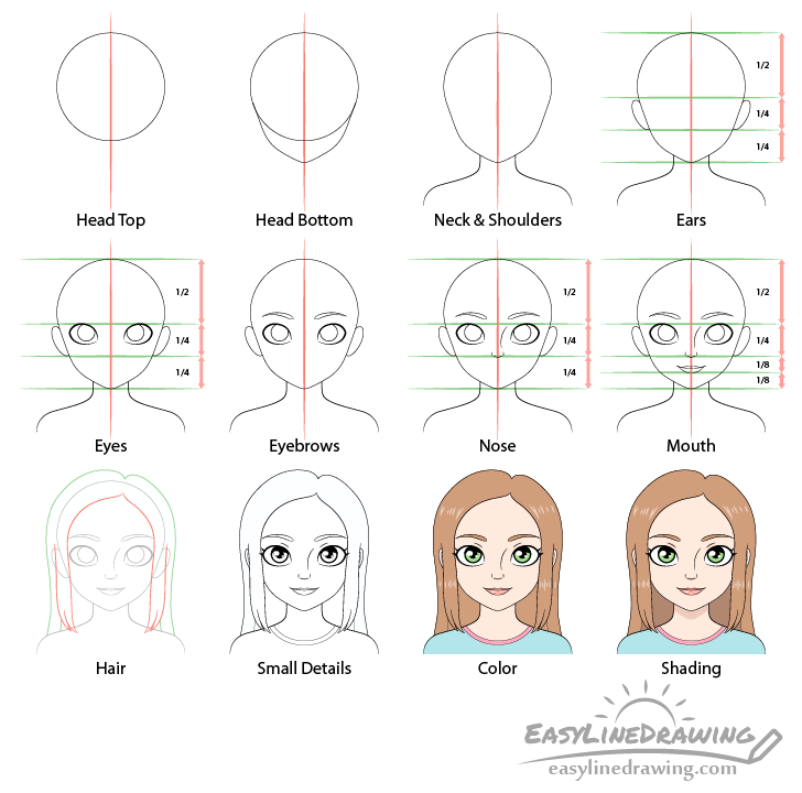 Girl drawing step by step