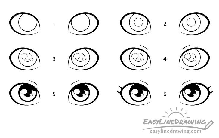 Girl eyes drawing step by step