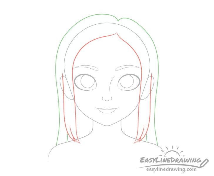 Girl hair drawing