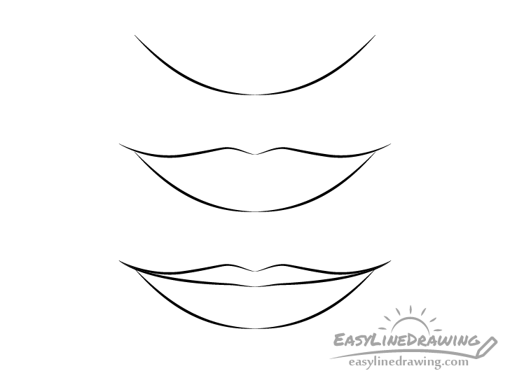 Girl lips line drawing step by step