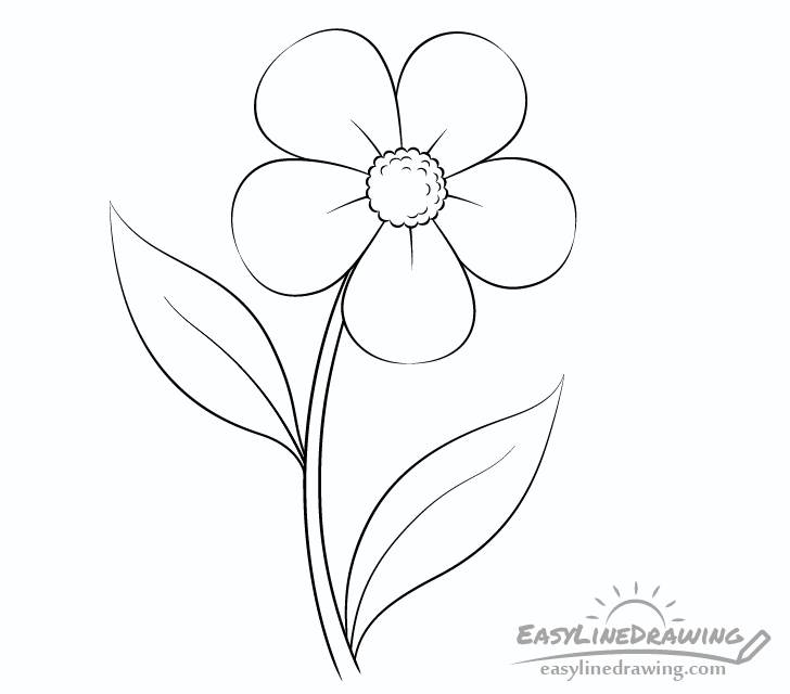 Flower line drawing