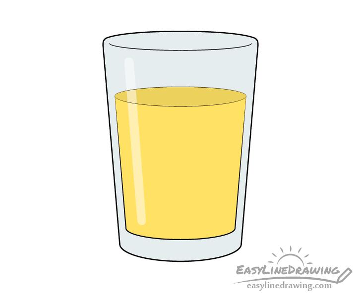 Glass of orange juice drawing