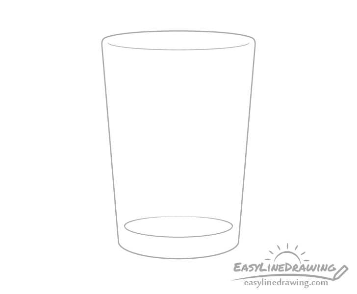 Glass of water bottom drawing
