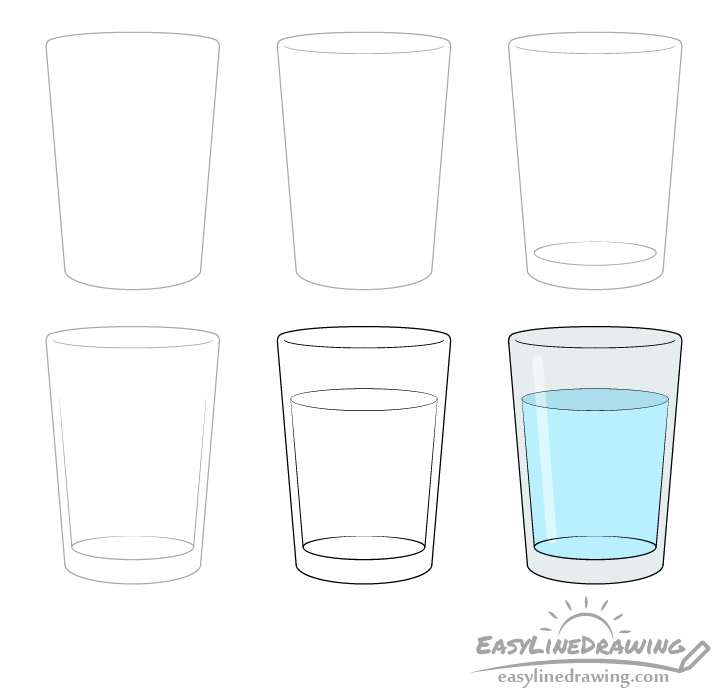 Glass of water drawing step by step