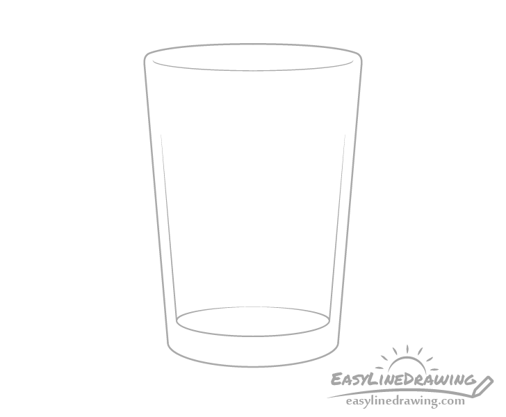 Glass of water inner shape drawing
