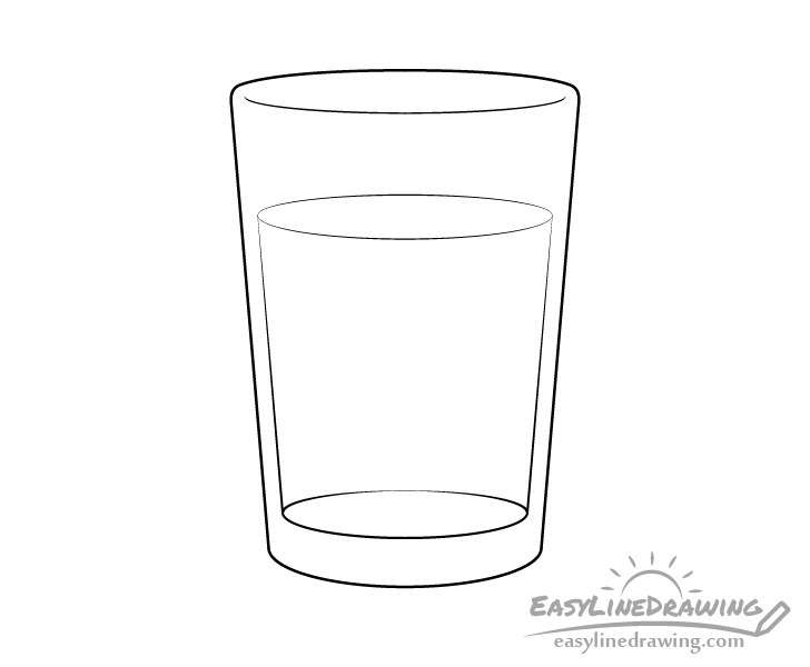 Glass of water line drawing