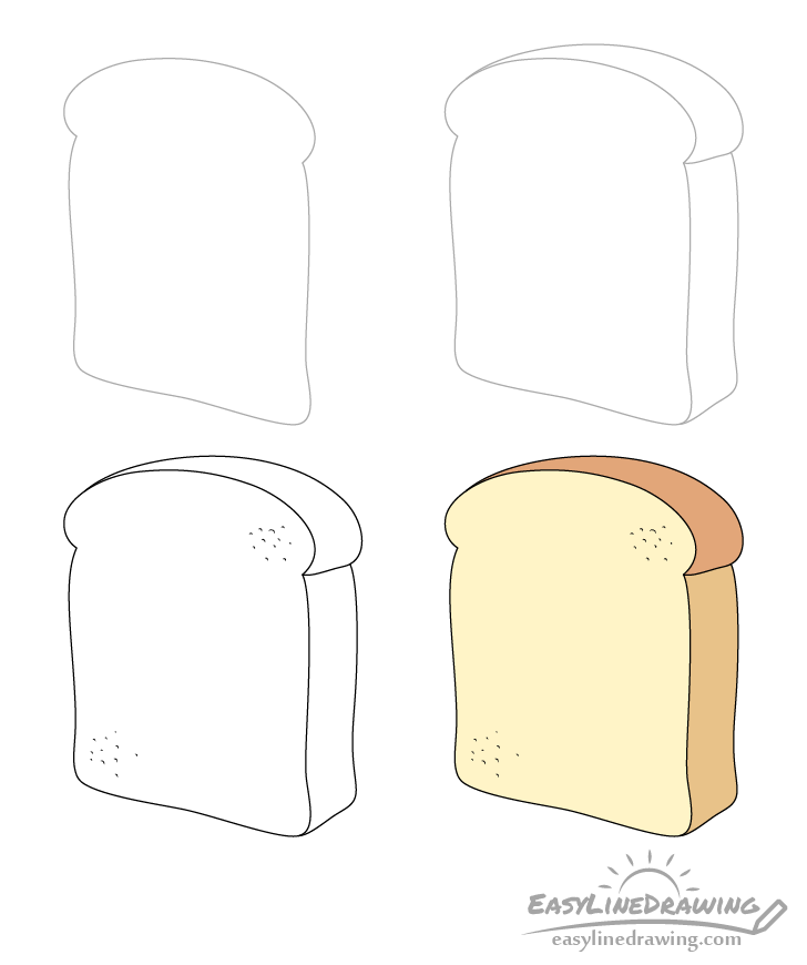 Bread slice drawing step by step