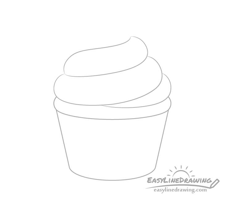 Cupcake frosting middle drawing