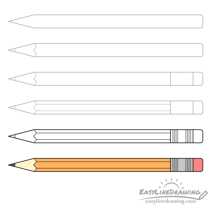 Drawing of a pencil step by step