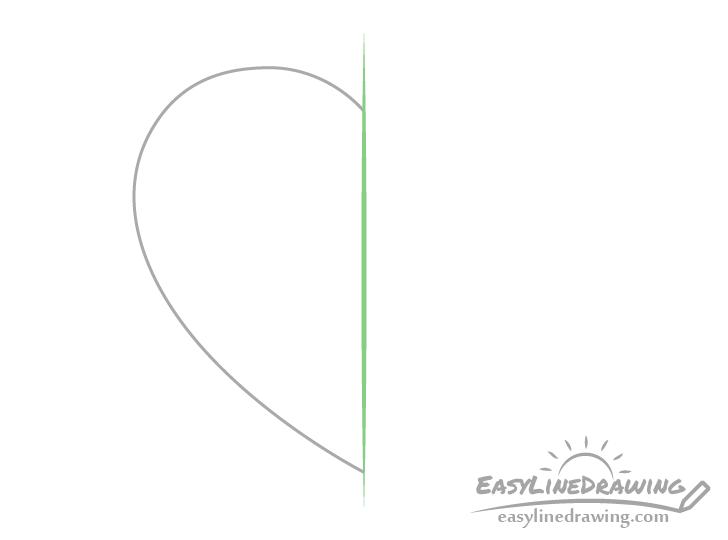 Heart half drawing