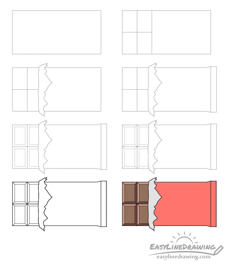 Chocolate bar drawing step by step