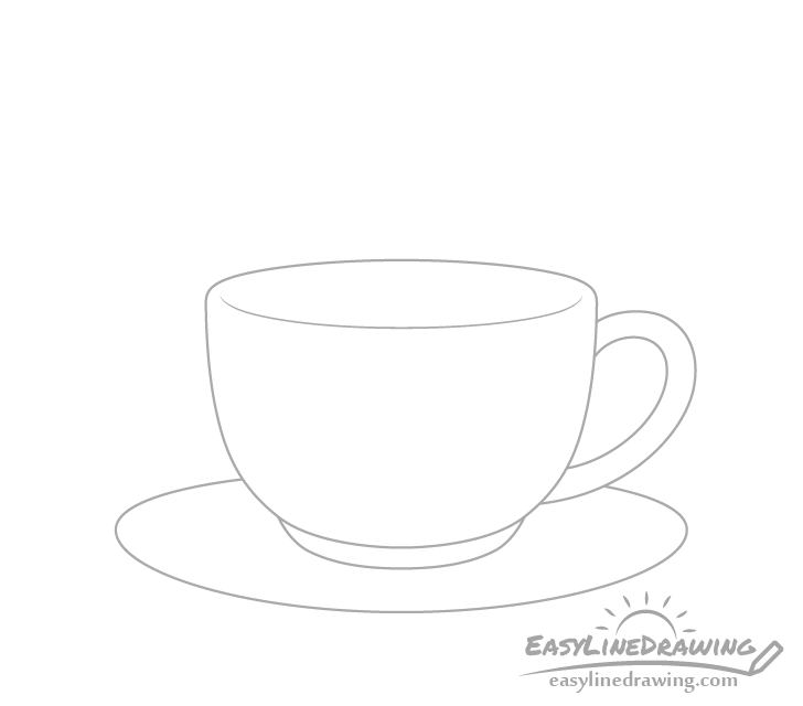 Coffee cup plate drawing