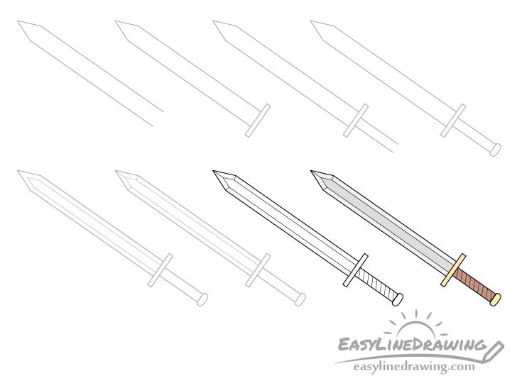 Sword drawing step by step