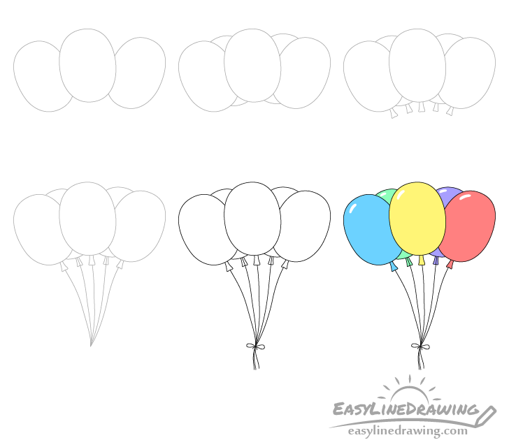 Balloons drawing step by step
