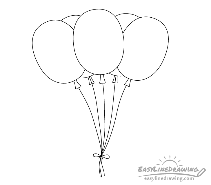 Balloons line drawing