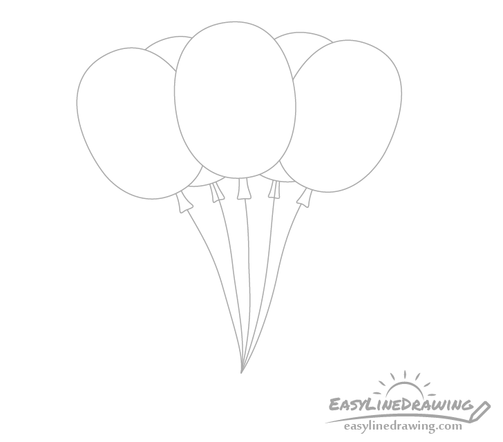 Balloons strings drawing