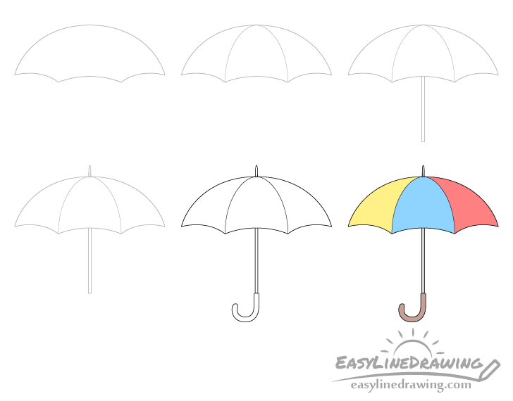 Umbrella drawing step by step