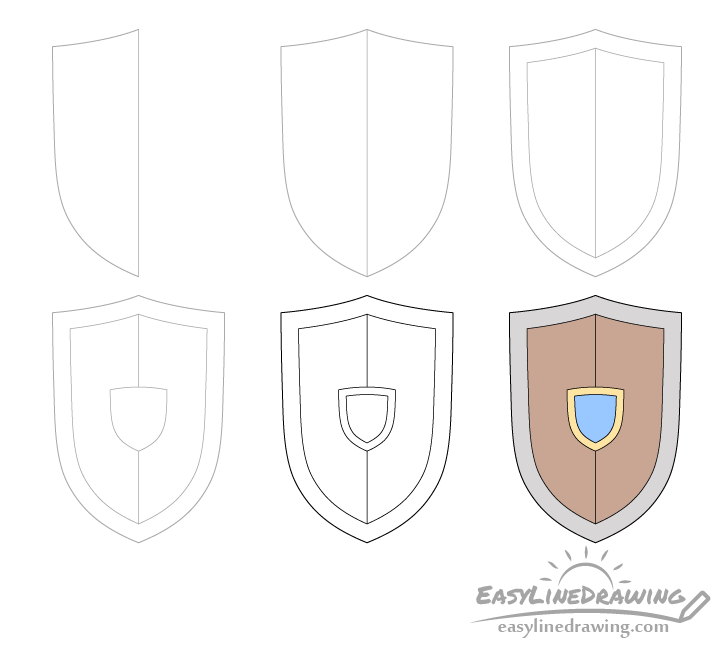 Shield drawing step by step