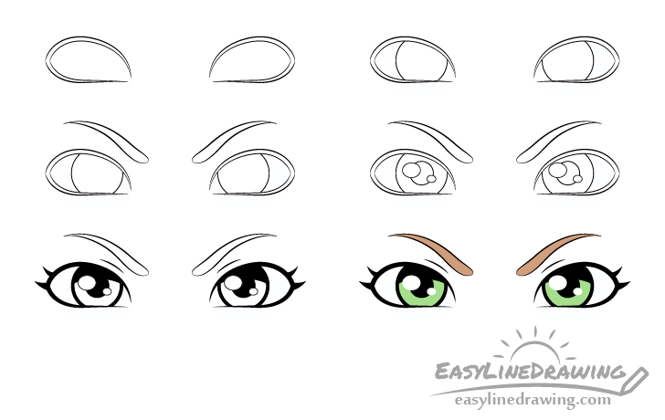 Angry eyes drawing step by step