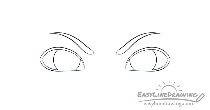 Angry eyes eyebrows drawing