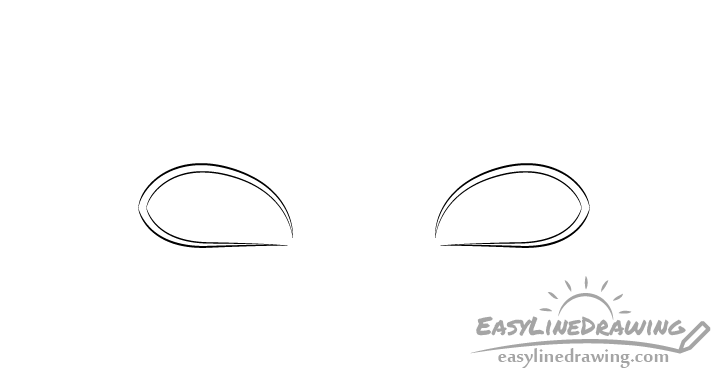 Angry eyes outline drawing