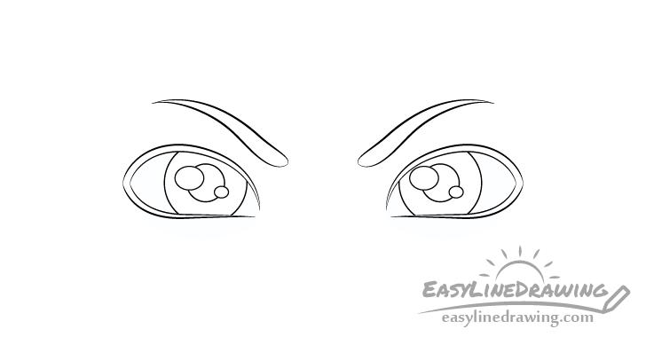 Angry eyes pupils drawing