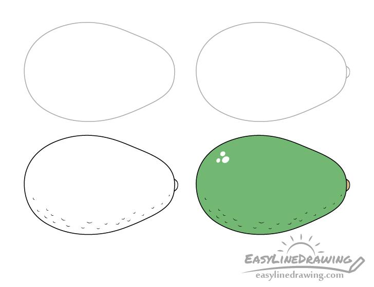 Avocado drawing step by step