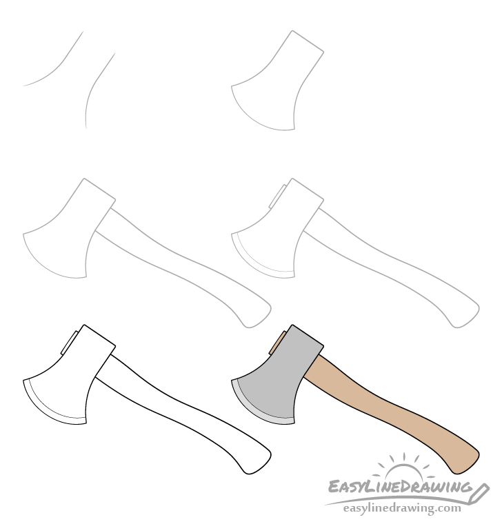 Axe drawing step by step