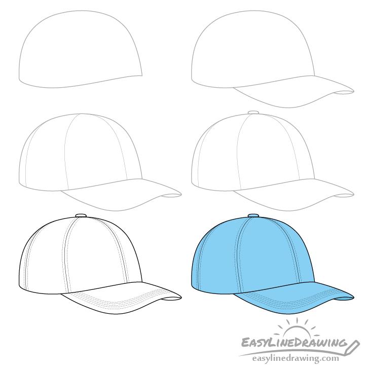 Baseball cap drawing step by step