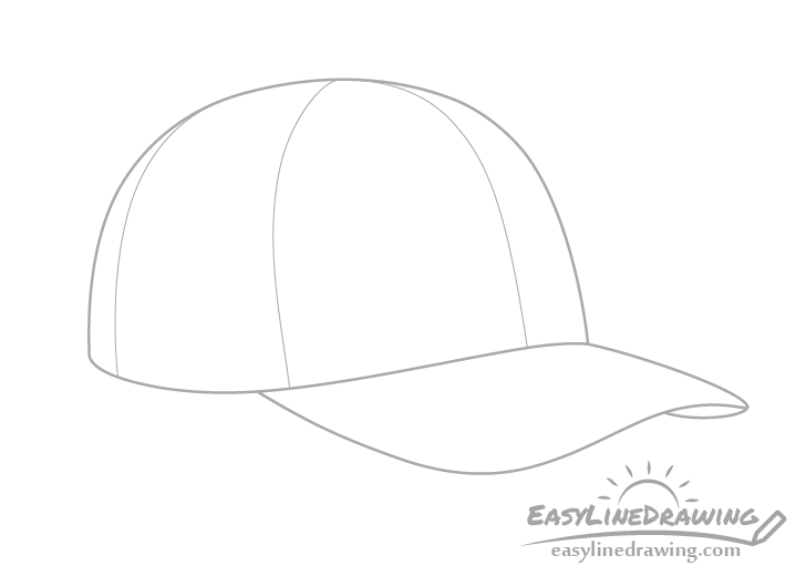 Baseball cap sections drawing