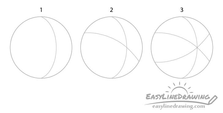 beach ball sections drawing step by step