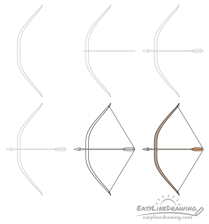 Bow and arrow drawing step by step