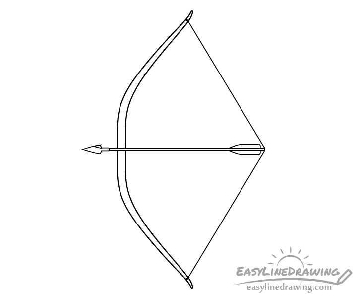 Bow and arrow fletching drawing