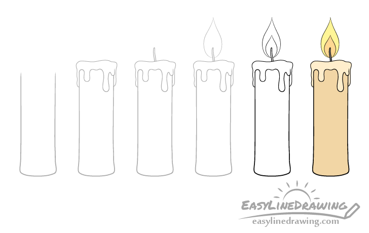 Candle drawing step by step