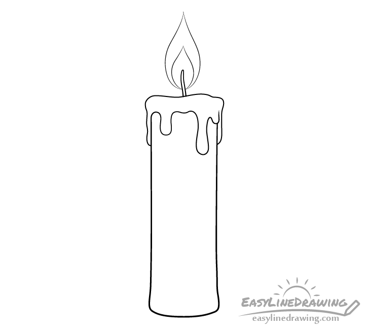 Candle line drawing