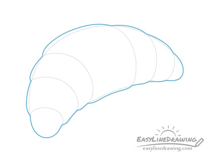 Croissant shape outline drawing